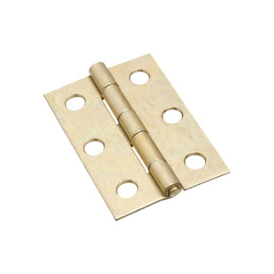 """National Hardware 2-1/2"""" Brass Plated Non-Removable Narrow Pin Hinges - Pack of 2"""