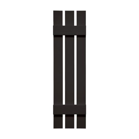 """TRI-BUILT 12"""" x 63"""" Standard Board-N-Batten 3-Board Spaced Shutters (Pair) Tuxedo Grey"""