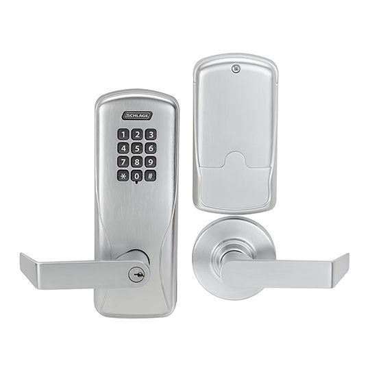 Schlage CO-100 Cylindrical Rhodes Office LD Lever with Electronic Pushbutton Keypad Lock Satin Chrome