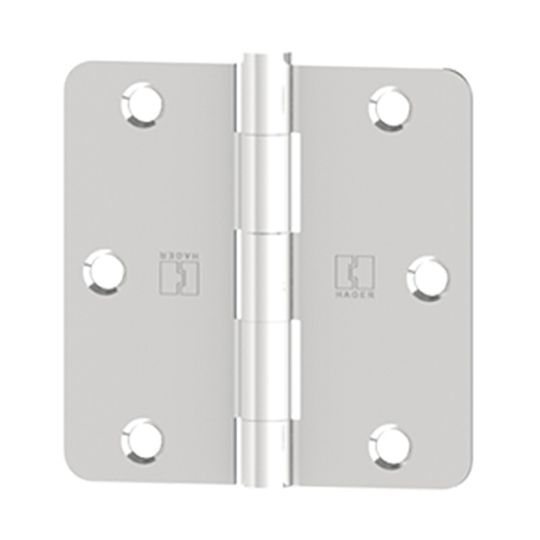 """Hager Companies 3-1/2"""" x 3-1/2"""" RC1748 Five Knuckle Plain Bearing Round Corner Full Mortise Hinge Satin Chrome Plated"""