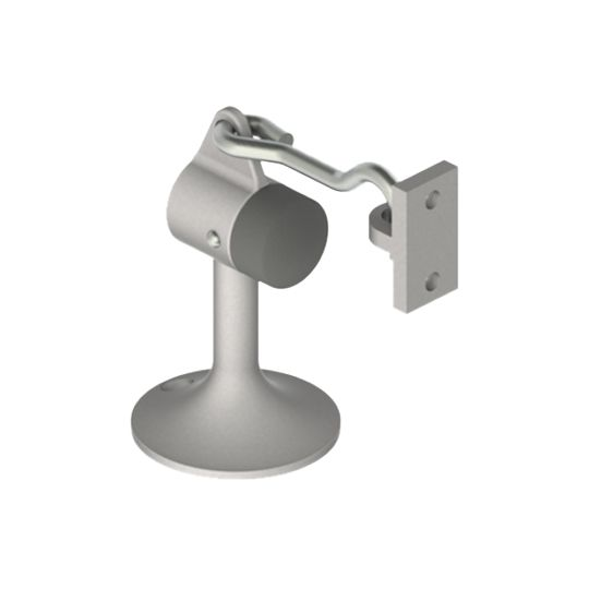 """Hager Companies 3-19/32"""" x 2-1/4"""" Cast Floor Stop and Holder Satin Chrome"""
