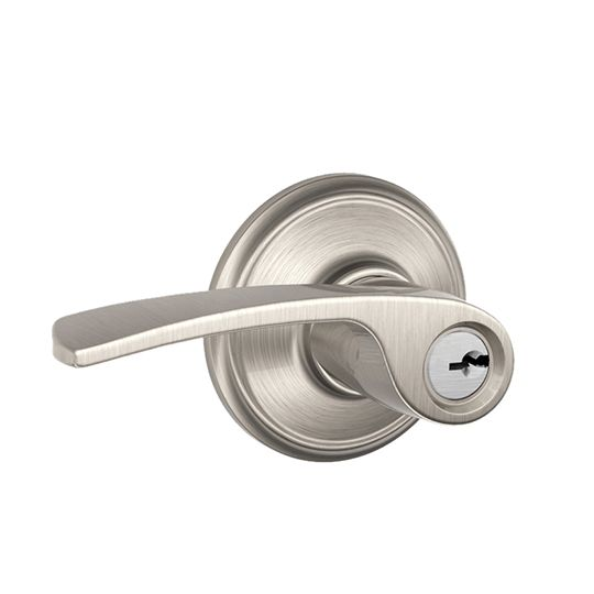 Schlage F51 Merano Entry Lever with Keyed Lock Aged Bronze