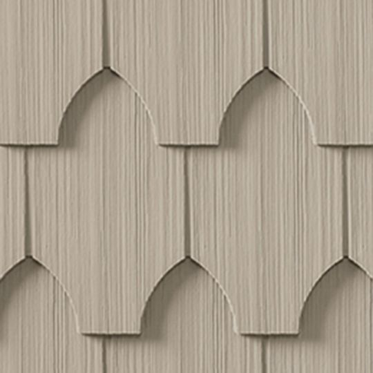 "CertainTeed Vinyl Building Products Cedar Impressions® Single 6-1/3"" Polymer Half-Cove Edge Shingle Siding Natural Clay"